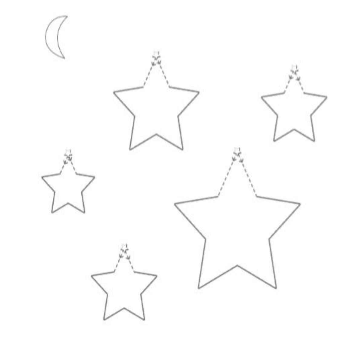 II. Trace the dotted diagonal lines starting at the small stars on top of each larger