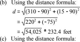 (b) Using the distance formula: d = (310 - 90) 2 + (15 - 90)