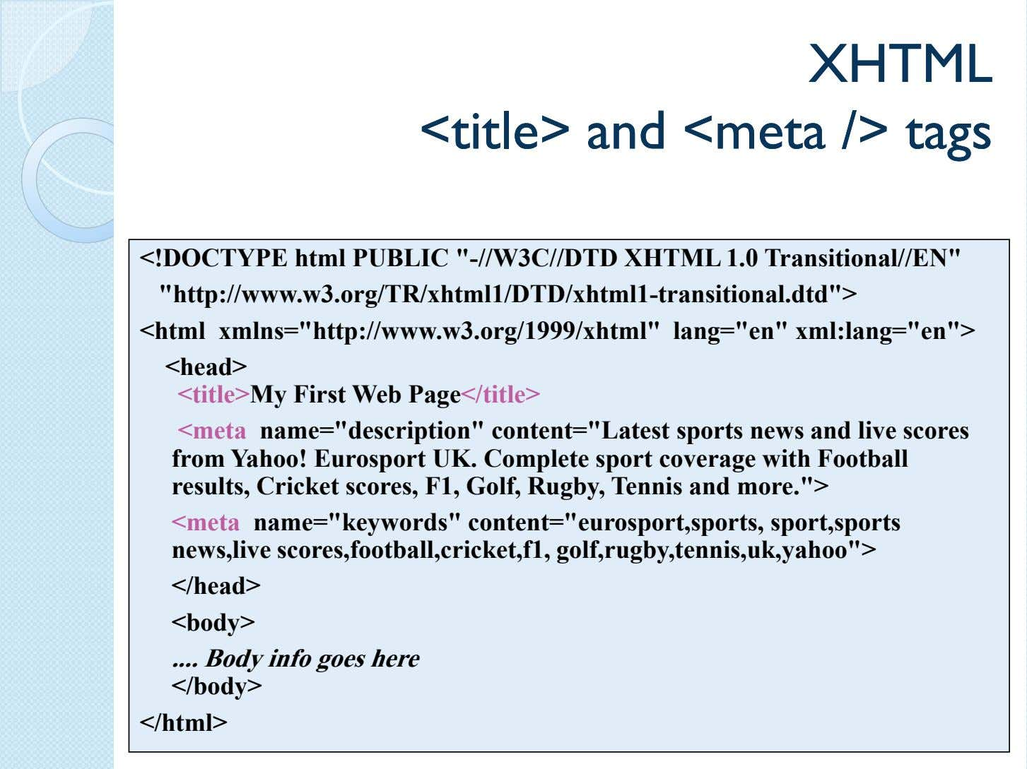 XHTMLXHTML <title><title> andand <meta<meta />/> tagstags <!DOCTYPE html PUBLIC