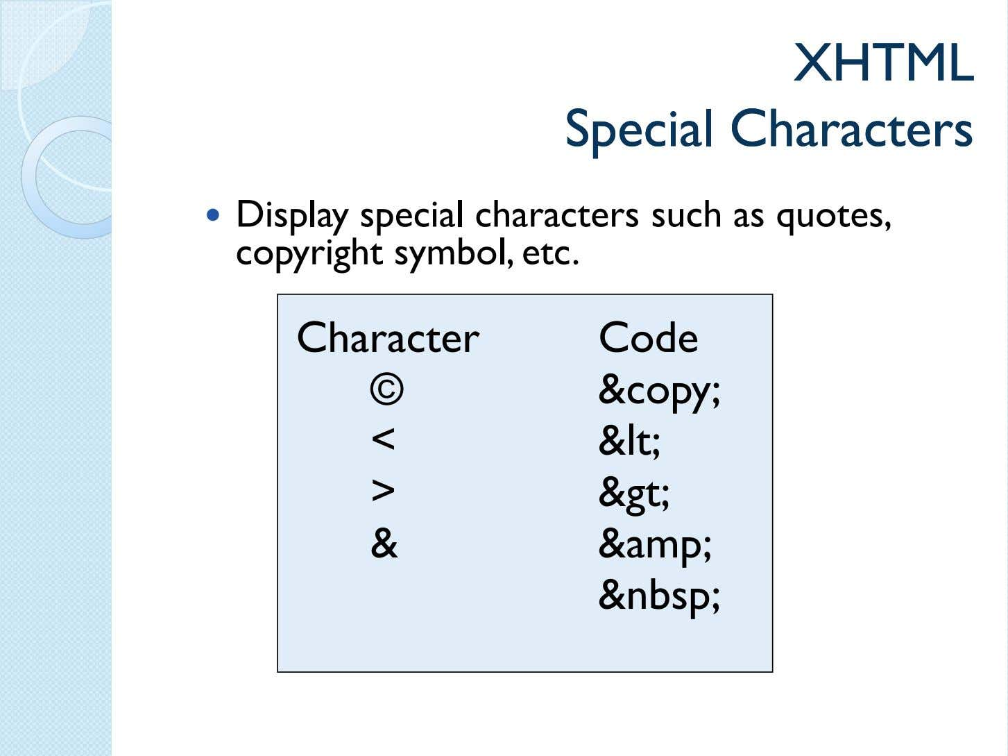 XHTMLXHTML SpecialSpecial CharactersCharacters Display special characters such as quotes, copyright symbol, etc.
