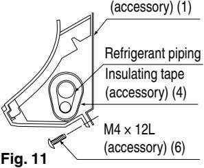 (accessory) (1) Refrigerant piping Insulating tape (accessory) (4) M4 × 12L (accessory) (6) Fig. 11