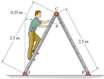 8–55. Determine the greatest angle θ so that the ladder does not slip when it