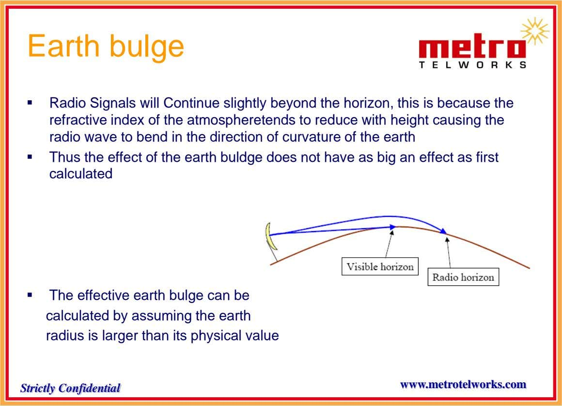 Earth bulge  Radio Signals will Continue slightly beyond the horizon, this is because the refractive