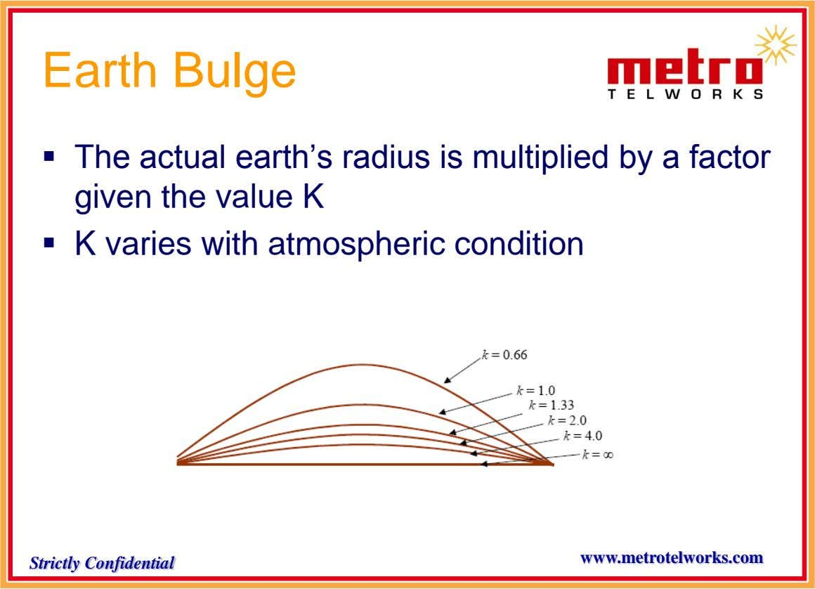Earth Bulge  The actual earth's radius is multiplied by a factor given the value K