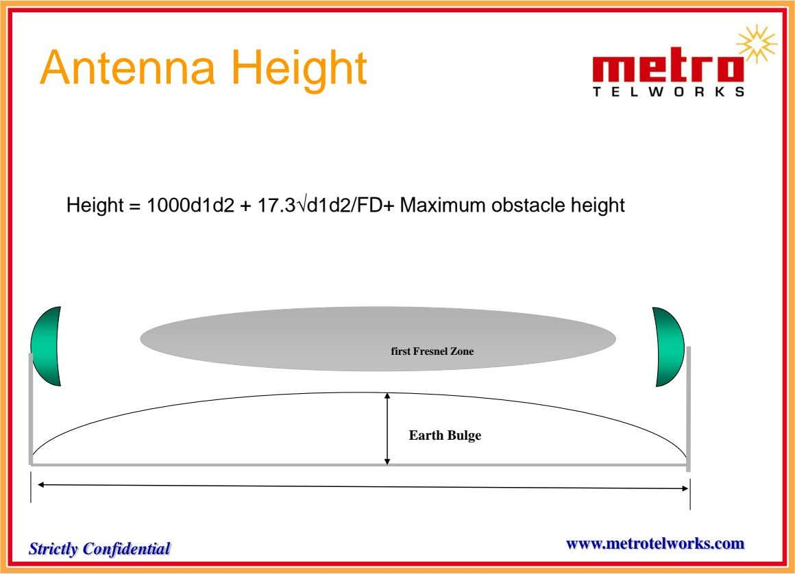 Antenna Height Height = 1000d1d2 + 17.3d1d2/FD+ Maximum obstacle height first Fresnel Zone Earth Bulge www.metrotelworks.com