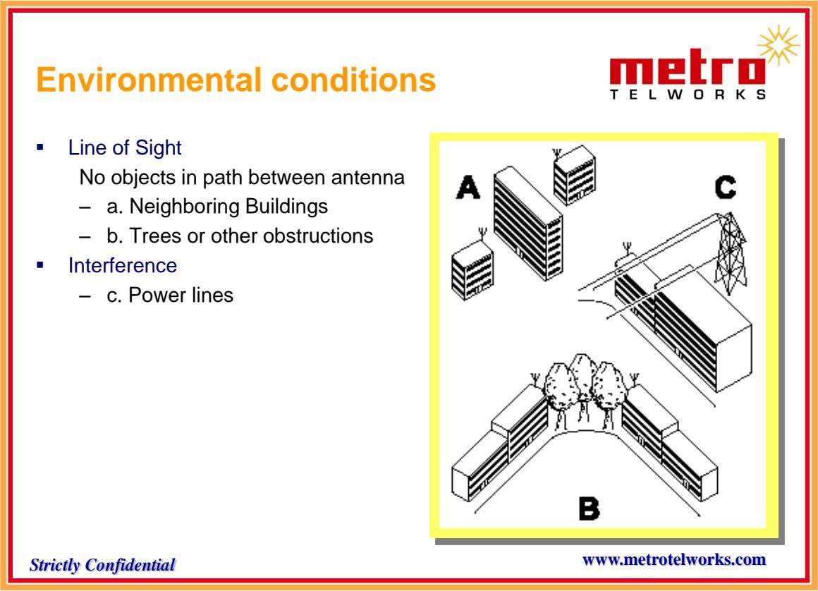Environmental conditions  Line of Sight No objects in path between antenna – – a. Neighboring