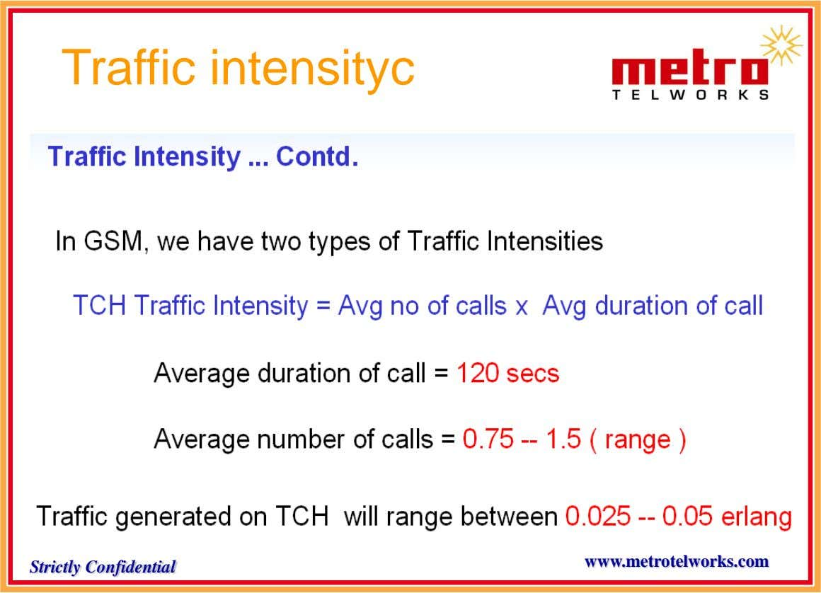Traffic intensityc www.metrotelworks.com Strictly Confidential