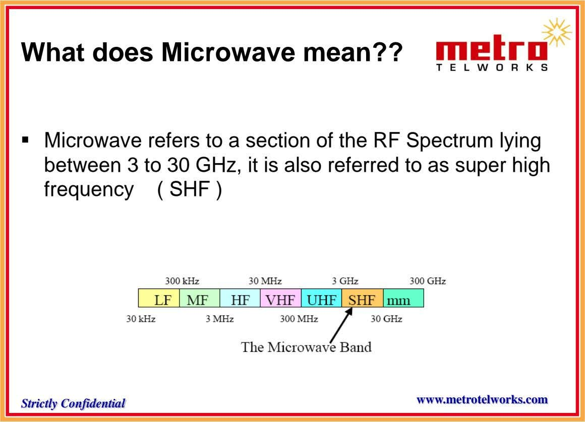 What does Microwave mean??  Microwave refers to a section of the RF Spectrum lying between
