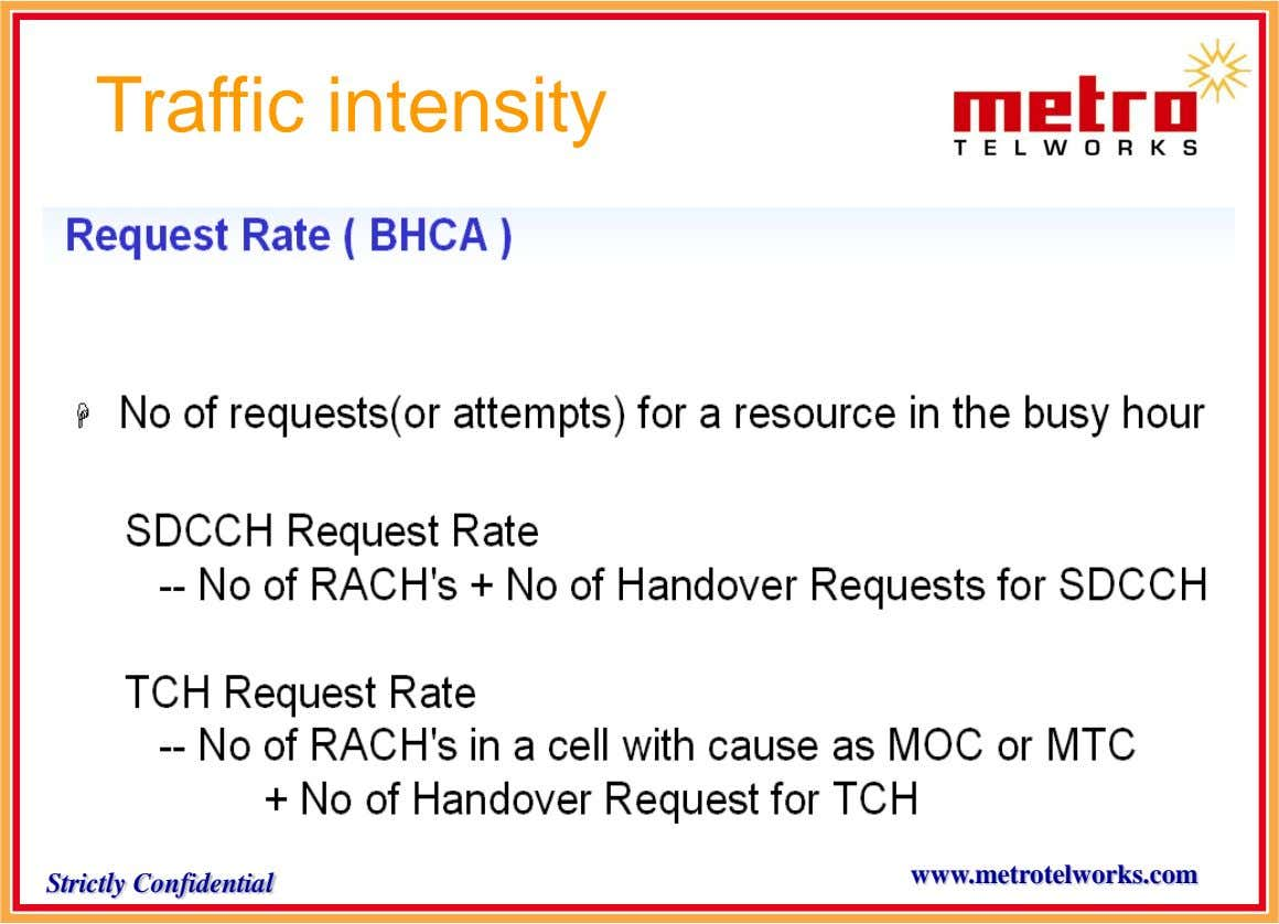Traffic intensity www.metrotelworks.com Strictly Confidential