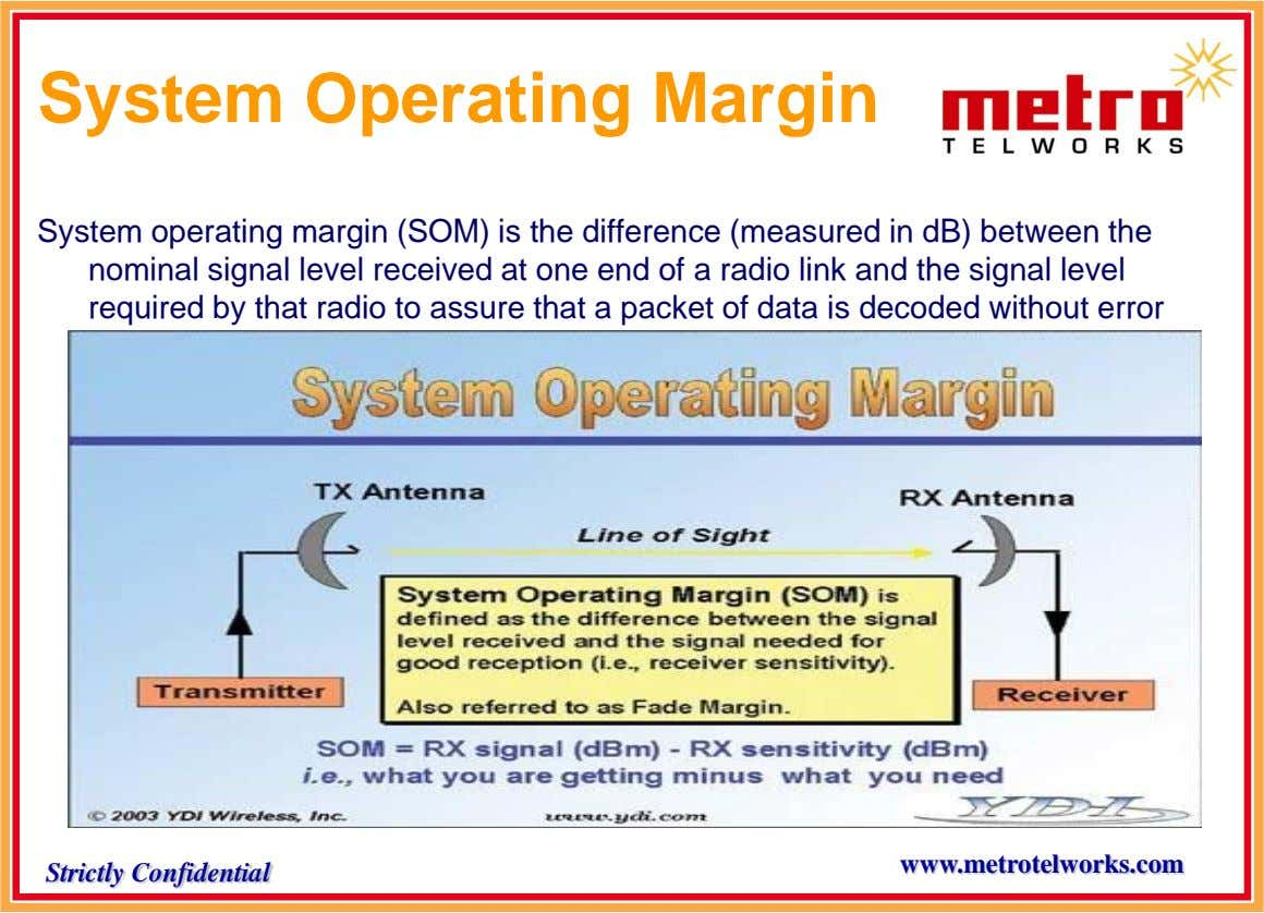System Operating Margin System operating margin (SOM) is the difference (measured in dB) between the nominal