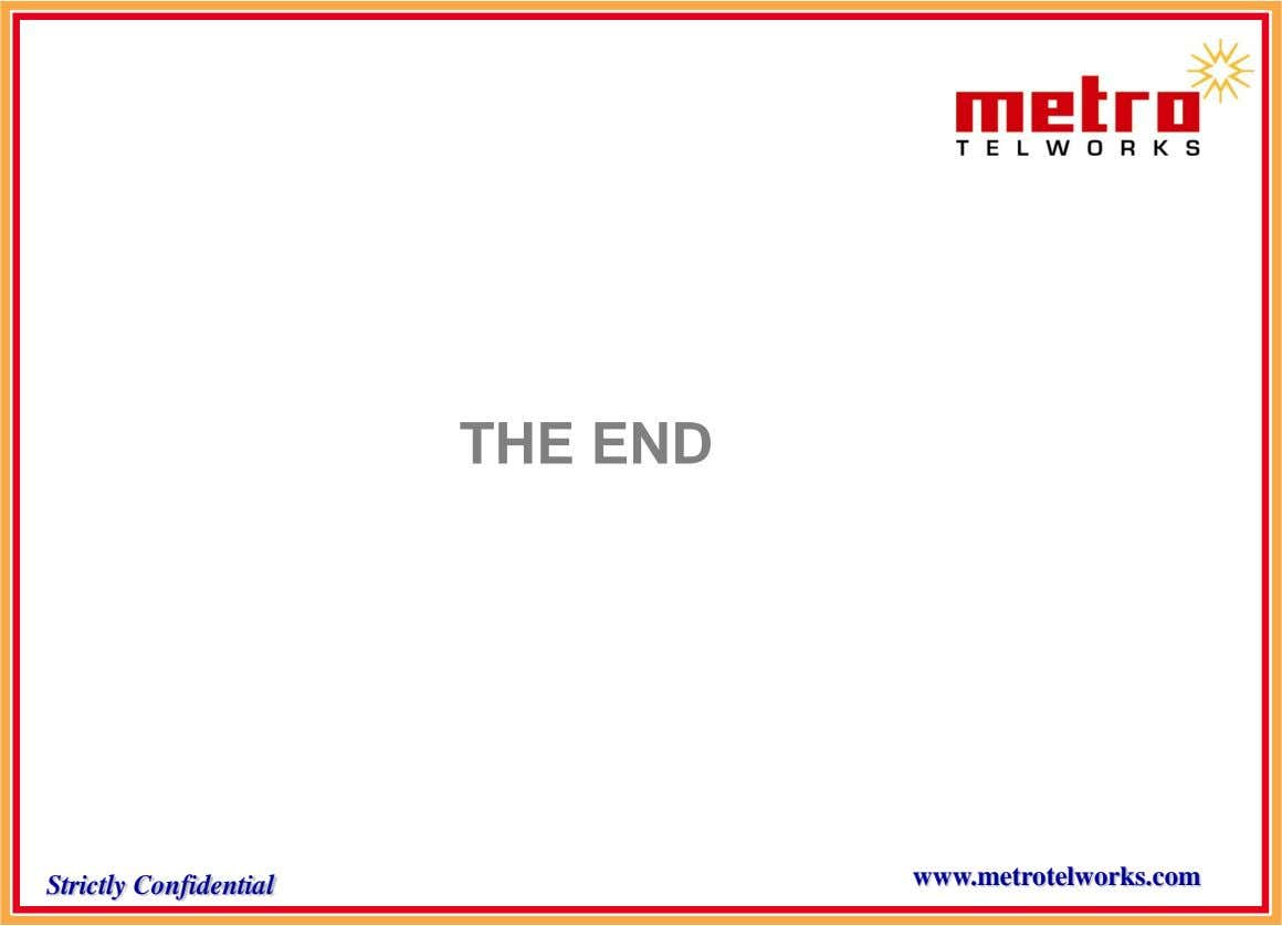 THE END www.metrotelworks.com Strictly Confidential