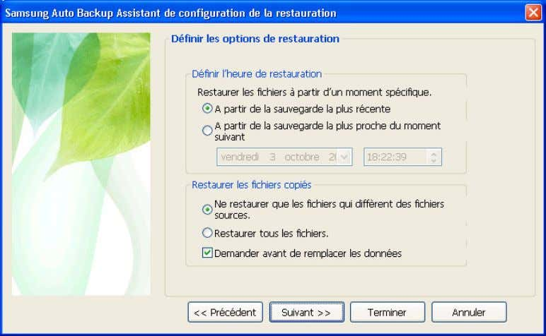 [Fig.] Configuration des options de restauration A. Grâce à l'assistant de configurati on de la restauration,