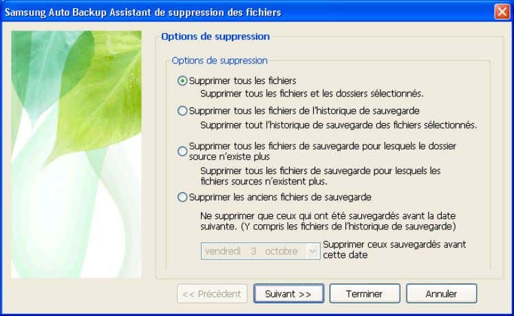 clavier. [Fig.] Configuration des options de suppression A. L'option « Supprimer tous les fichie rs »