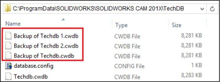 TechDB with the Create Backup Copy option exercised. Multiple Backup copies of the TechDB Source file