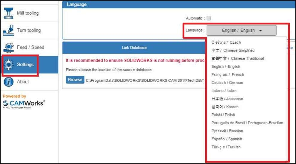 reload and be displayed in the selected language. Language Settings in 'Settings' menu of TechDB User