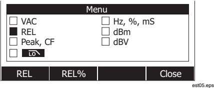 Menu VAC REL Peak, CF Hz, %, mS dBm dBV REL REL% Close est05.eps
