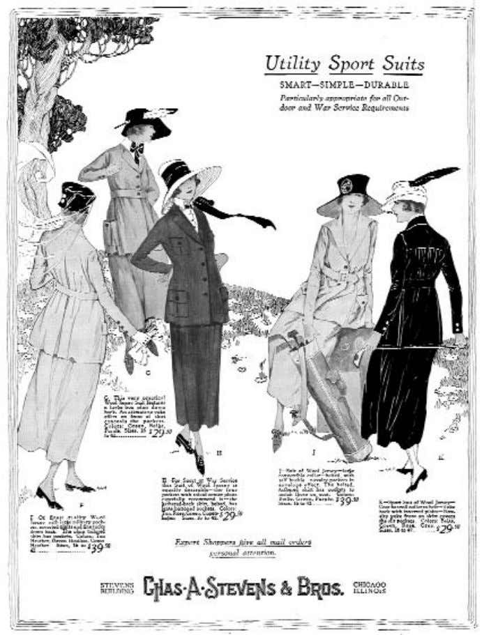somber colors, and other influences of menswear styling remained prevalent in women's apparel. Ad 1918. —31—