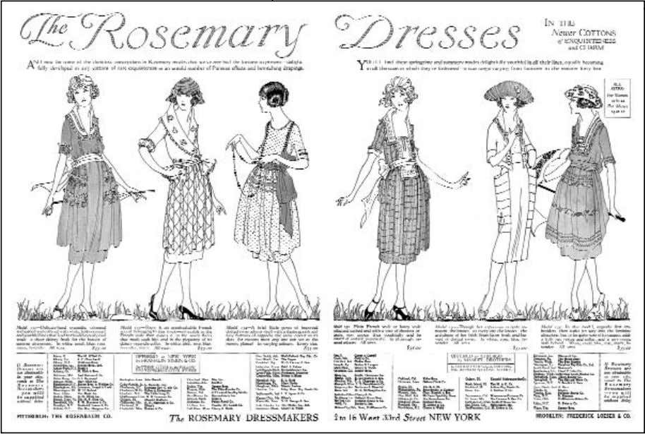 waistline, the pannier, and the crinoline. The one common stylistic element was the short hemline. Ads