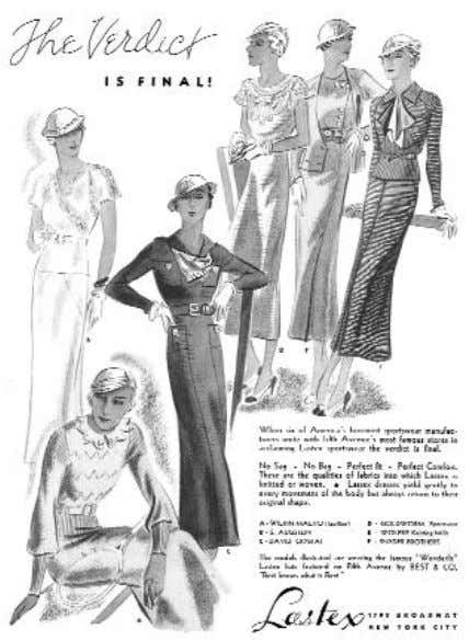 and knits reinforced this new look of femininity. 1931 1930 rich fabrics, and vivid colors were