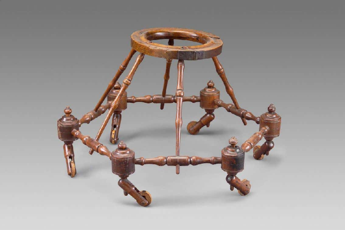 English Baby Walker of Walnut, Cherry, Maple, & Iron c. 1700 (Museum of Fine Arts,