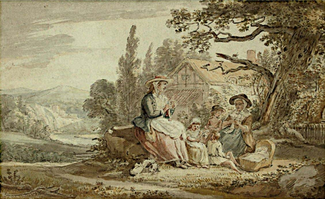 A Family Group Knitting Outside a Cottage by Paul Sandby (Christie's Auction House)