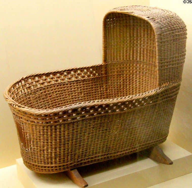 English Wicker & Wood Cradle Reported to have been used by Peregrine White Reportedly Brought