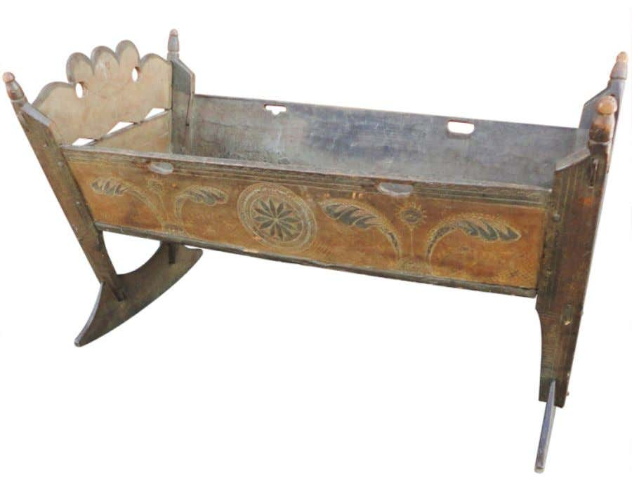 American Painted Cradle from Pennsylvania (Berks or Lancaster County) German / Dutch Influence 18th Century