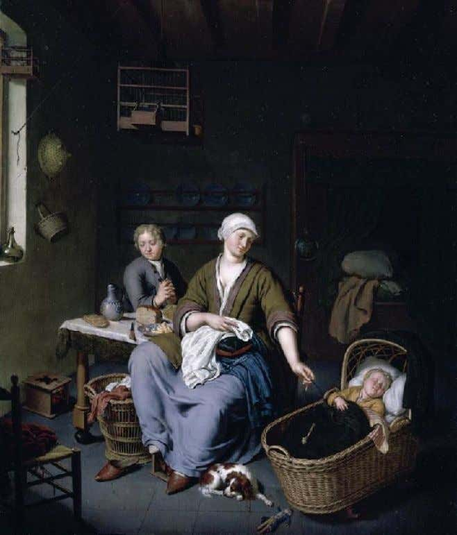 Dutch Interior of a Mother Attending Her Children by Willem van Mieris c. 1728 (Private