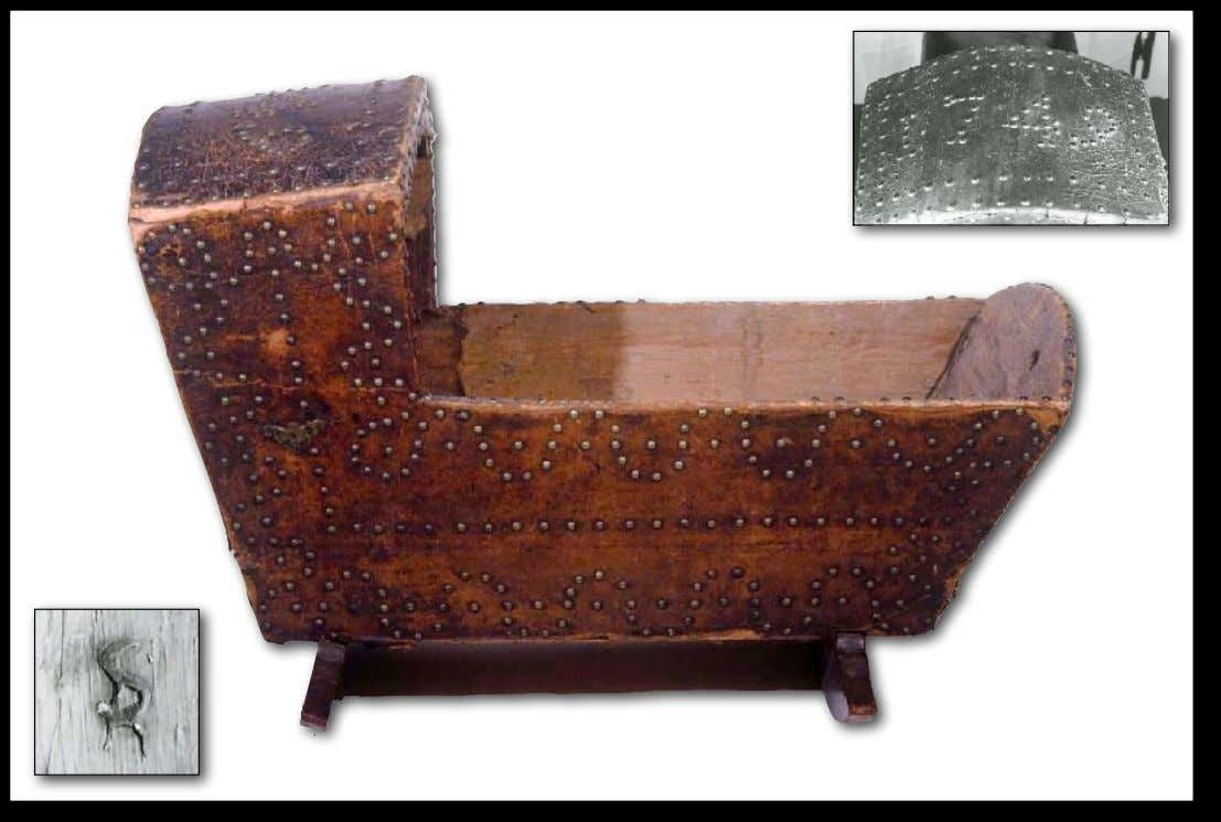"American Leather Covered Pine Cradle Decorated with Brass Tacks from New York Decorated ""1749"", The"