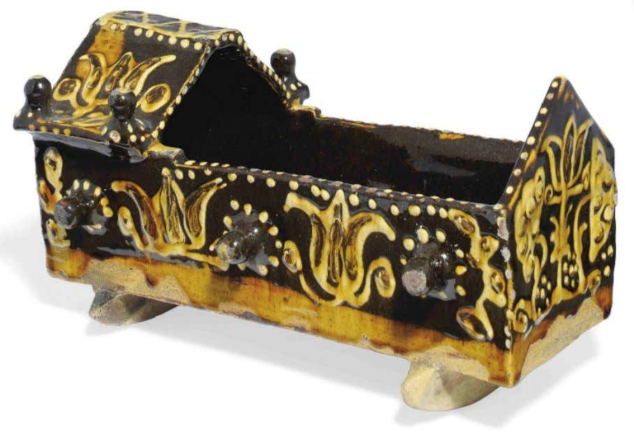 English Lead Glazed Earthenware Cradle Model from Sta ff ordshire c. 1700 (Christie's)