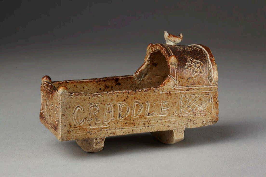 English Salt Glazed Stoneware Cradle Model from Sta ff ordshire For Thomas Smith c. 1740