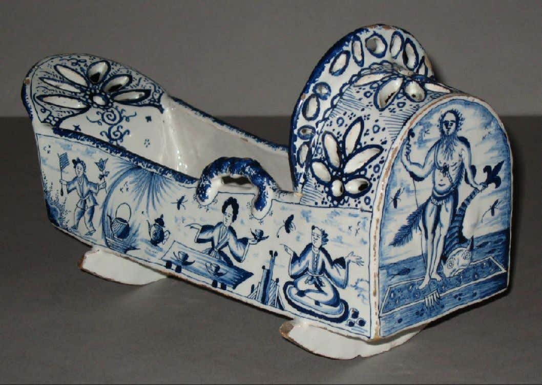 English Tin Glazed Earthenware Miniature Cradle 1736 (Winterthur)