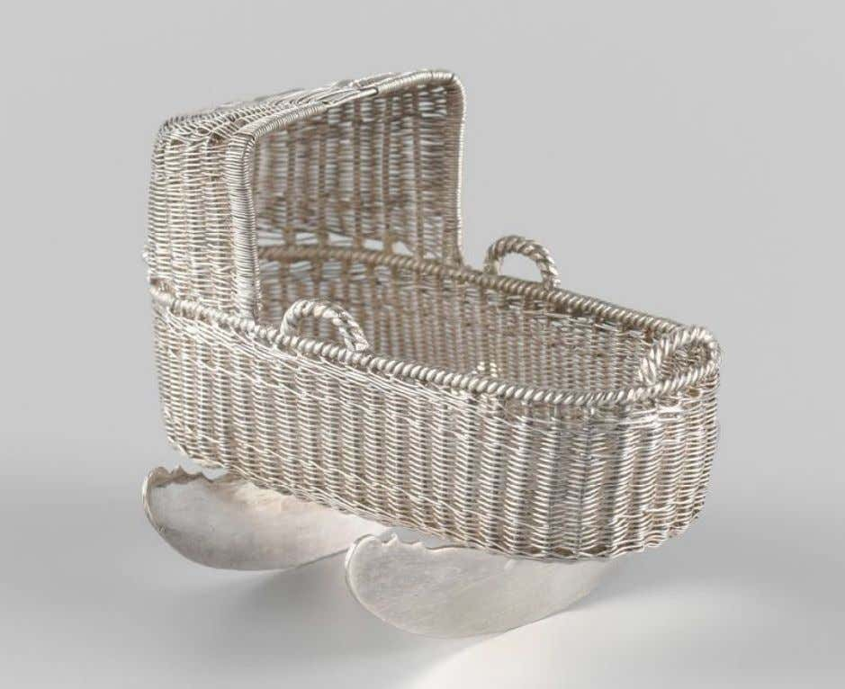 Dutch Miniature Silver Wicker Cradle by Martinus van Erkel (Rijksmuseum) 1784