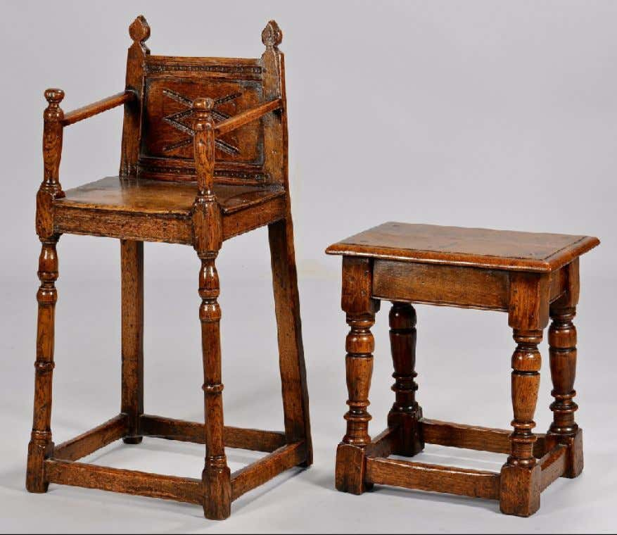English or European High Chair with Stool Late 17th Century (Case Antiques)