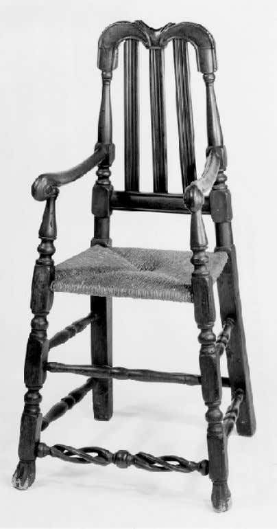 American Bannister Back High Chair with Spanish Feet from Connecticut c. 1710 - 1720 (Museum
