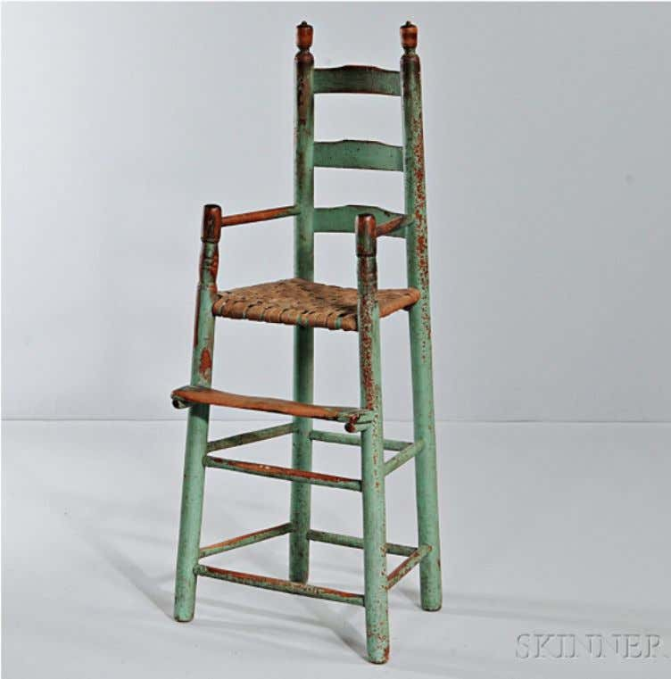American Ladder Back High Chair in Green Paint 18th Century (Skinner)