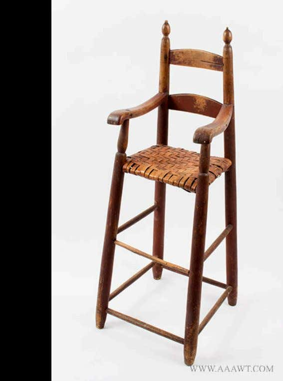 American Ladder Back High Chair in Red Paint Late 18th Century (Antique Associates of West