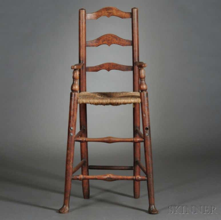 American Ladder Back High Chair 18th Century (Skinner)