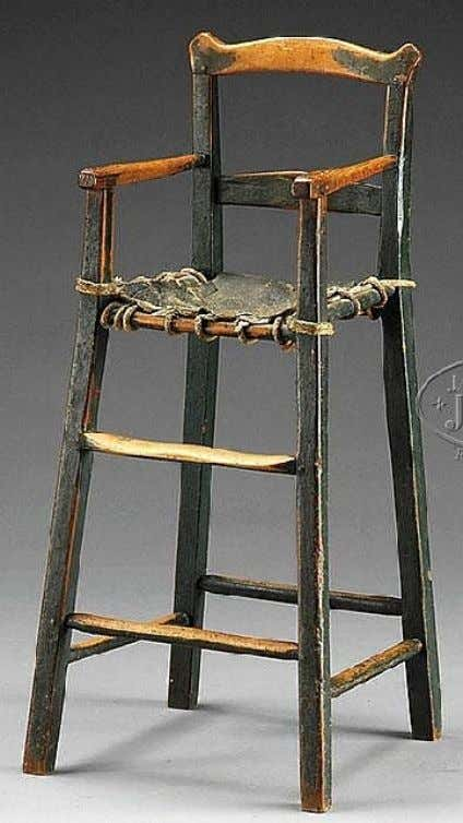 American Ladder Back High Chair in Black Paint Late 18th Century (James Julia)