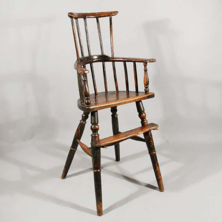 English Windsor High Chair in Black Paint c. 1790 (Wakelin & Linfield)