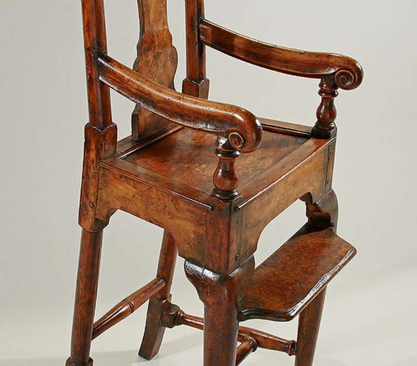 English Yewwood & Fruitwood High Chair c. 1730 (M. Ford Creech Antiques)