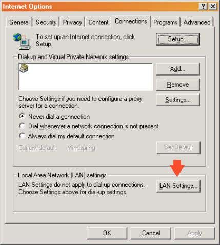 => Connections => LAN Settings. See image below. Click the LAN Settings button to open the