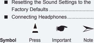 Resetting the Sound Settings to the Factory Defaults Connecting Headphones Symbol Press Important Note