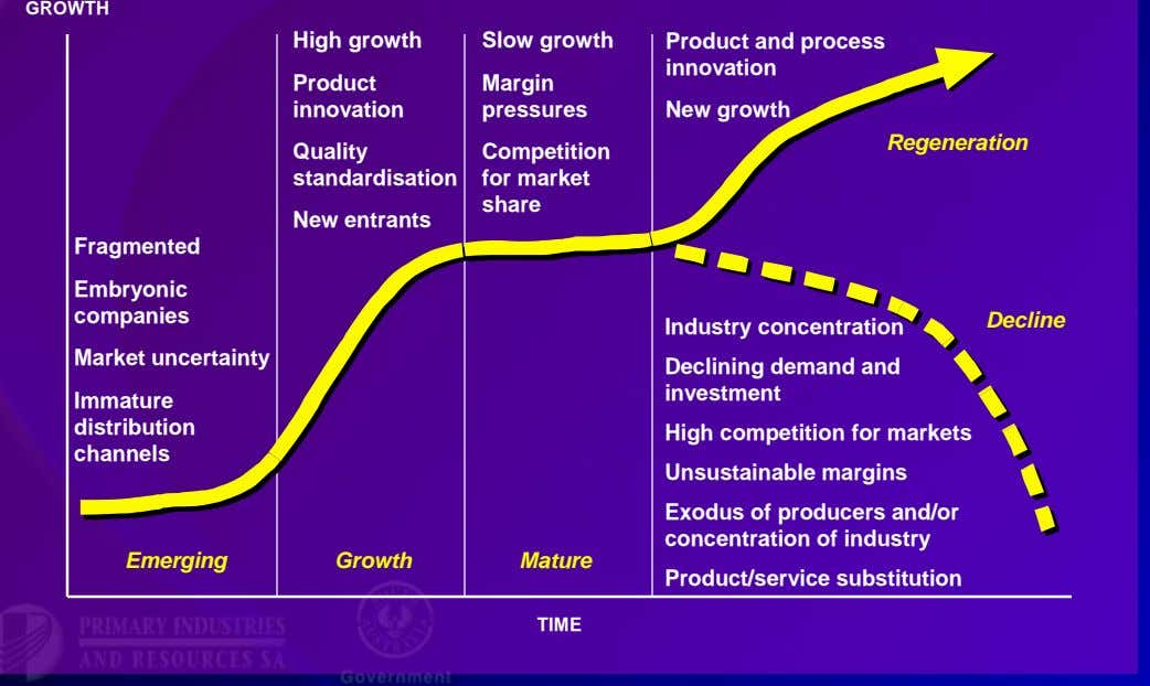 Each industry requires its own vision and growth targets Typical industry lifecycle characteristics GROWTH Fragmented Embryonic