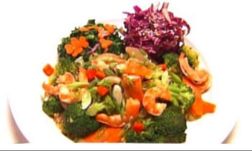 Andrea's Rock Shrimp with Spicy Plum Sauce INGREDIENTS Shrimp: 1/4 cup water 1 onion, peeled and