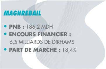 MAGHREBAIL PNB : ENCOURS FINANCIER : MILLIARDS DE DIRHAMS PART DE MARCHE :