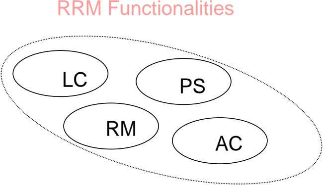 RRM Functionalities LC PS RM AC