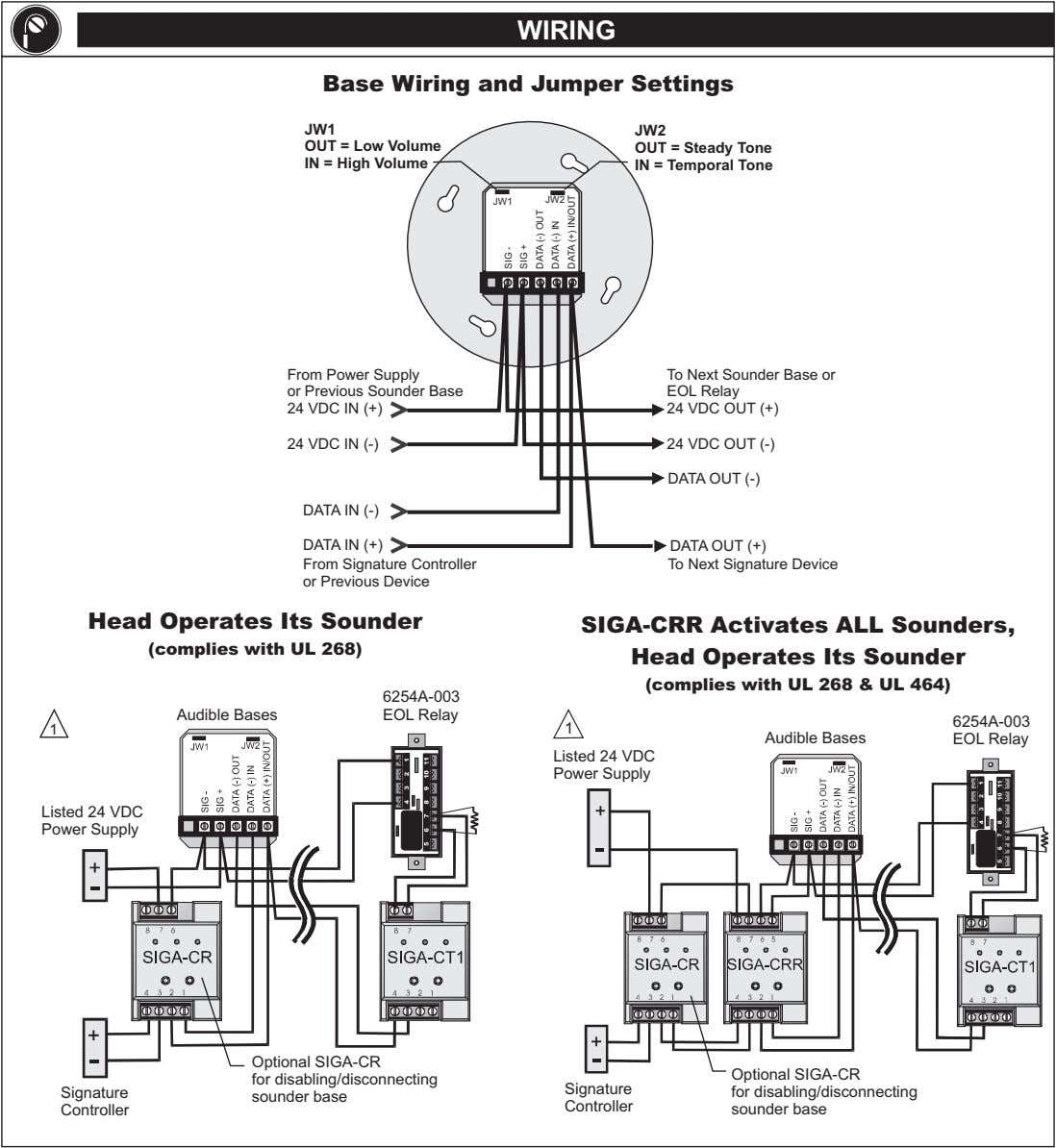 WIRING Base Wiring and Jumper Settings JW1 JW2 OUT = Low Volume IN = High