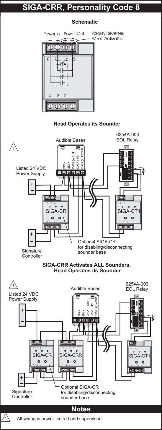SIGA-CRR, Personality Code 8 Schematic Head Operates its Sounder 6254A-003 Audible Bases EOL Relay 1