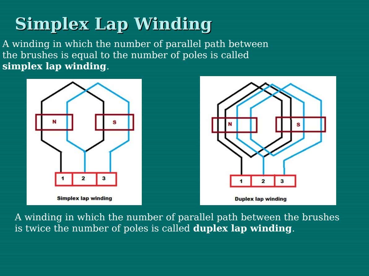 Simplex Simplex Lap Lap Winding Winding A winding in which the number of parallel path between